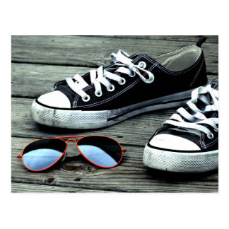 SNEAKERS ON A PIER with SUNGLASSES Postcard