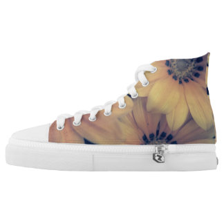 Sneakers type talk with yellow flowers