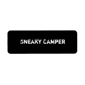 Sneaky Camper. Gamer Return Address Label
