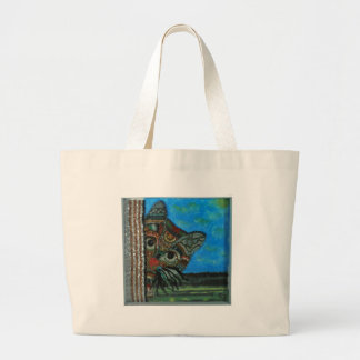 Sneaky Cat Large Tote Bag