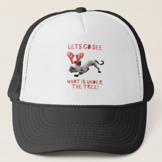 Sneaky Cat Reindeer Trucker Hat