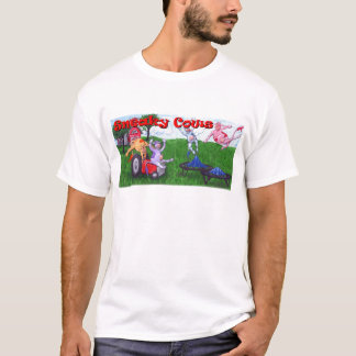 Sneaky Cows on Tractor and Trampolines T-Shirt