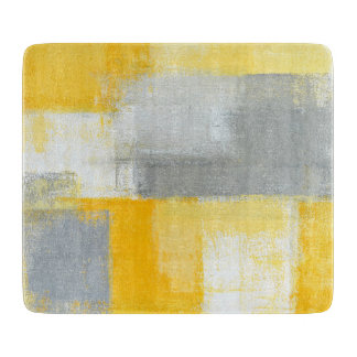 'Sneaky' Grey and Yellow Abstract Art Cutting Boards