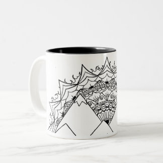 Sneaky Peaks Mandala Sunrise Two-Tone Coffee Mug