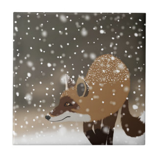 Sneaky smart fox snowy winter forest art tile