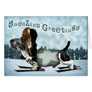 Sneezins Greetings Basset Christmas Card