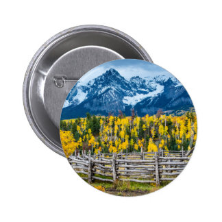 Sneffels Mountain Corral in the Fall - Colorado 2 Inch Round Button