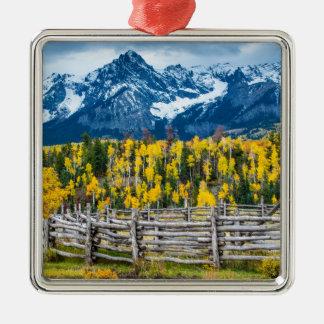 Sneffels Mountain Corral in the Fall - Colorado Metal Ornament