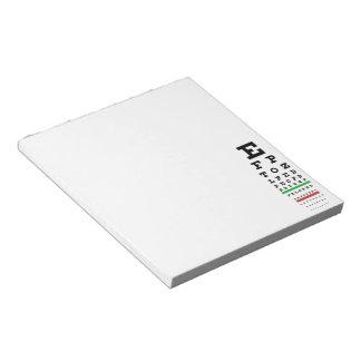 Snellen Eye Chart Notepad