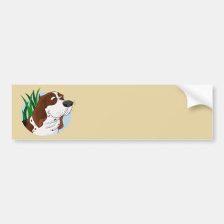 Sniffing Basset Hound Cartoon Bumper Sticker