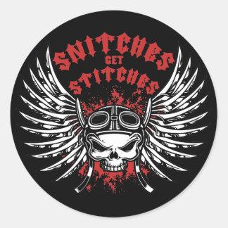 Snitches Get Stitches Round Sticker