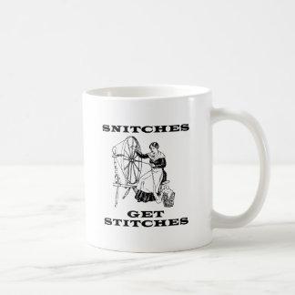 Snitches Get Stitches Sewing Seamstress Pun Coffee Mug