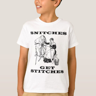 Snitches Get Stitches Sewing Seamstress Pun T-Shirt