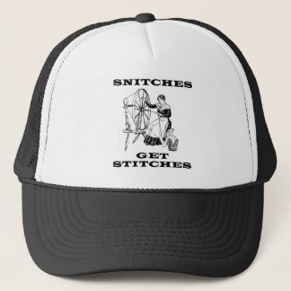 Snitches Get Stitches Sewing Seamstress Pun Trucker Hat