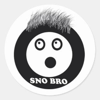sno bro classic round sticker