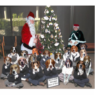 Snoops with Santa & Tree Sculpture Photo Sculpture Magnet