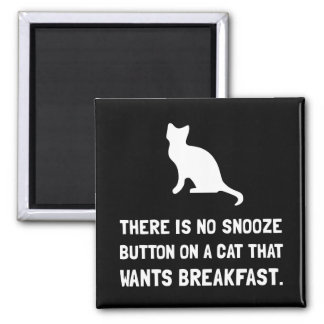 Snooze Button Cat Square Magnet