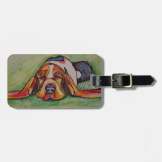 Snoozing Bassett Hound Luggage Tag