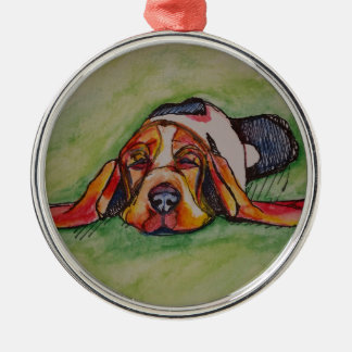 Snoozing Bassett Hound Metal Ornament