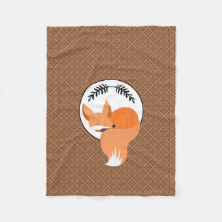 Snoozing Woodland Fox Cozy Fleece Blanket