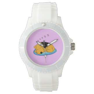 Snoring Terrier Women's Sporty White Silicon Watch