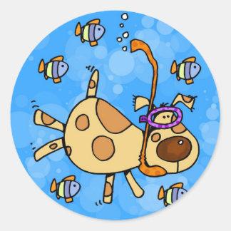 snorkel doggy classic round sticker
