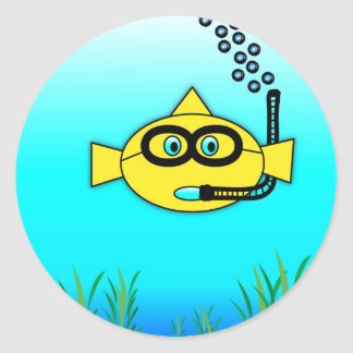 Snorkel Fish Classic Round Sticker