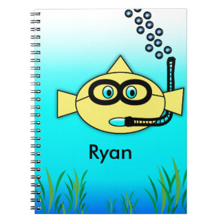 Snorkel Fish with Name Spiral Notebooks