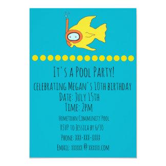 Snorkeling Fish Kids Birthday Pool Party Card