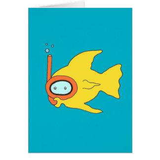 Snorkeling Swimming Yellow Fish Card