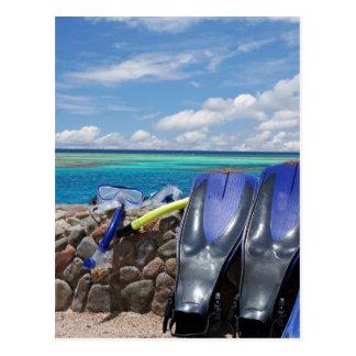 snorkeling tools postcard