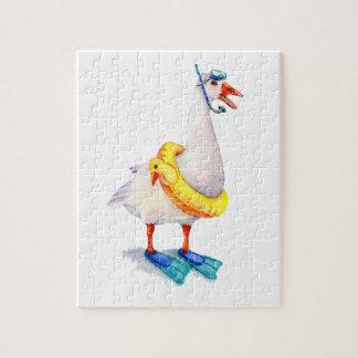 Snorkeling White Goose Jigsaw Puzzle