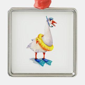 Snorkeling White Goose Silver-Colored Square Ornament