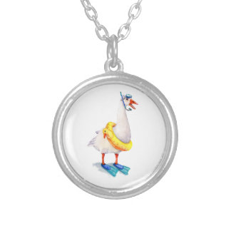 Snorkeling White Goose Silver Plated Necklace
