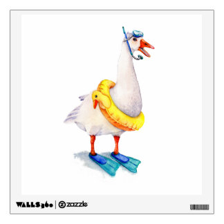 Snorkeling White Goose Wall Sticker