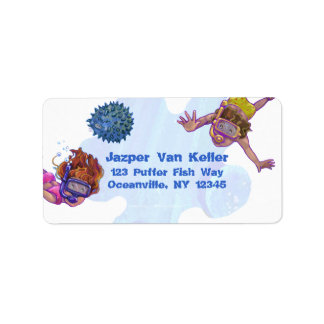 Snorkelling Kids Address Label