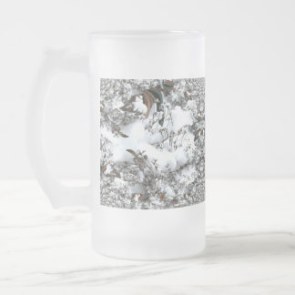 Snow Abstract Frosted Glass Beer Mug