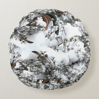 Snow Abstract Round Pillow
