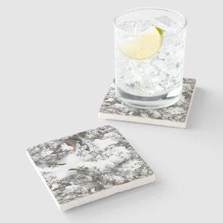 Snow Abstract Stone Coaster