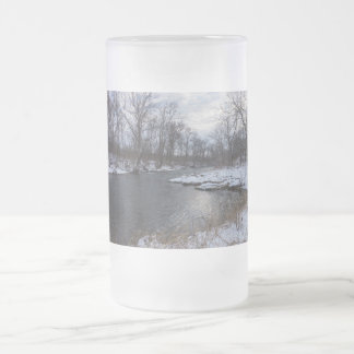 Snow Along James River Frosted Glass Beer Mug