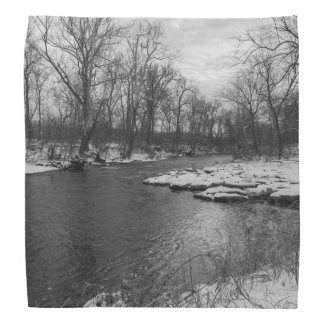 Snow Along James River Grayscale Bandanna