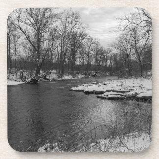 Snow Along James River Grayscale Coaster
