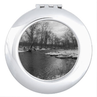 Snow Along James River Grayscale Compact Mirror