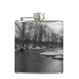 Snow Along James River Grayscale Flasks