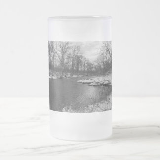Snow Along James River Grayscale Frosted Glass Beer Mug