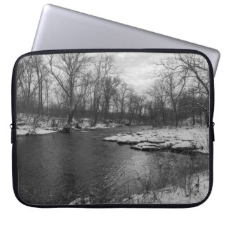 Snow Along James River Grayscale Laptop Computer Sleeve