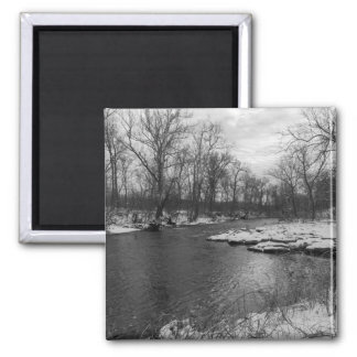 Snow Along James River Grayscale Magnet