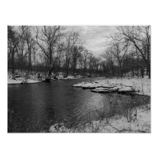 Snow Along James River Grayscale Poster