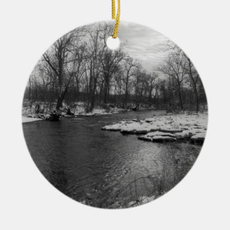 Snow Along James River Grayscale Round Ceramic Ornament