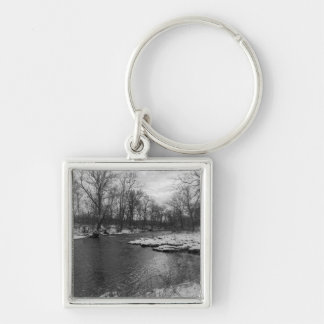 Snow Along James River Grayscale Silver-Colored Square Keychain
